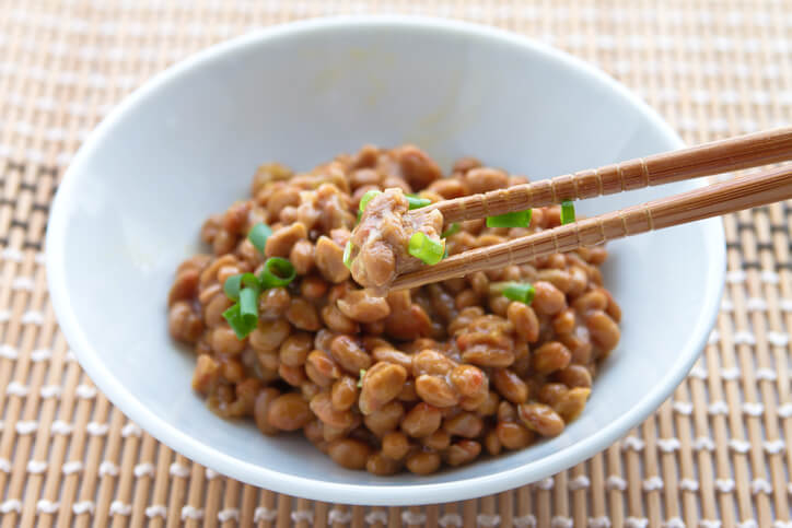 This bowl of natto is a good source of vitamin K2.